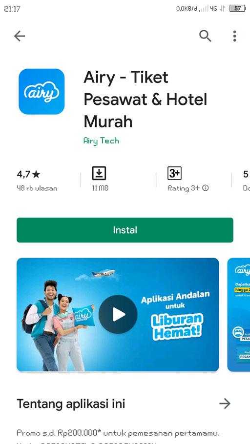 airy aplikasi booking hotel