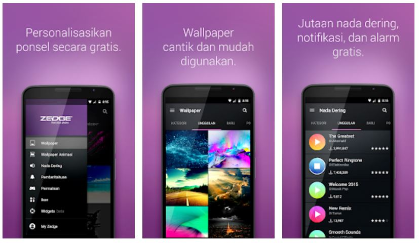 zedge aplikasi wallpaper